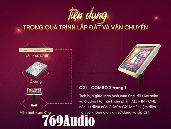 dau karaoke tich hop man hinh cam ung okara c21
